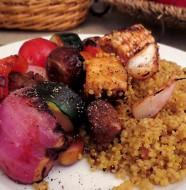 vegan kabob and curry quinoa